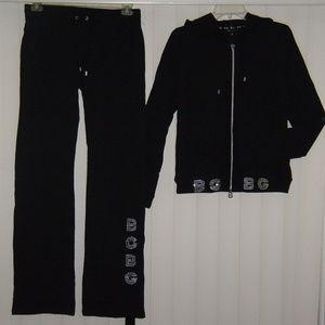 Rare Gorgeous Black Rhinestones Sweatsuit